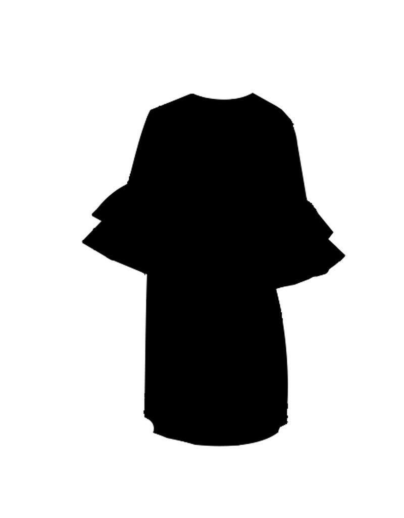 Mary Square Black Ruffle Short Sleeve Dress XS