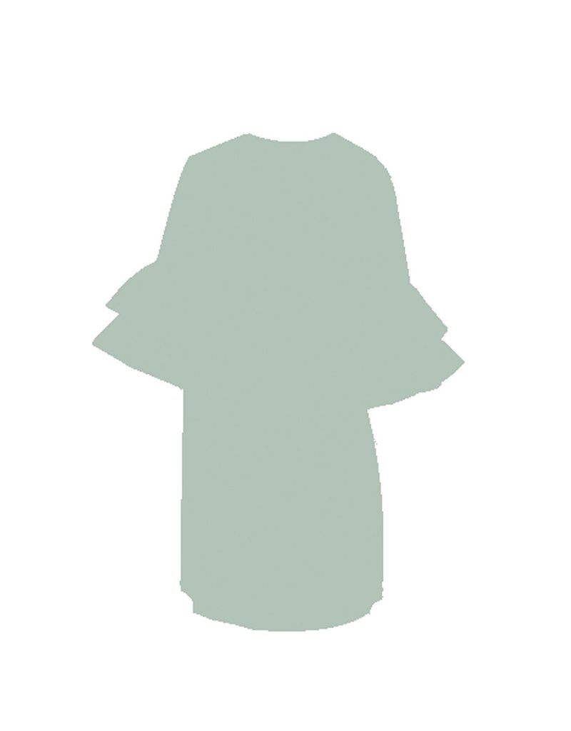 Mary Square Stone Ruffle Dress M