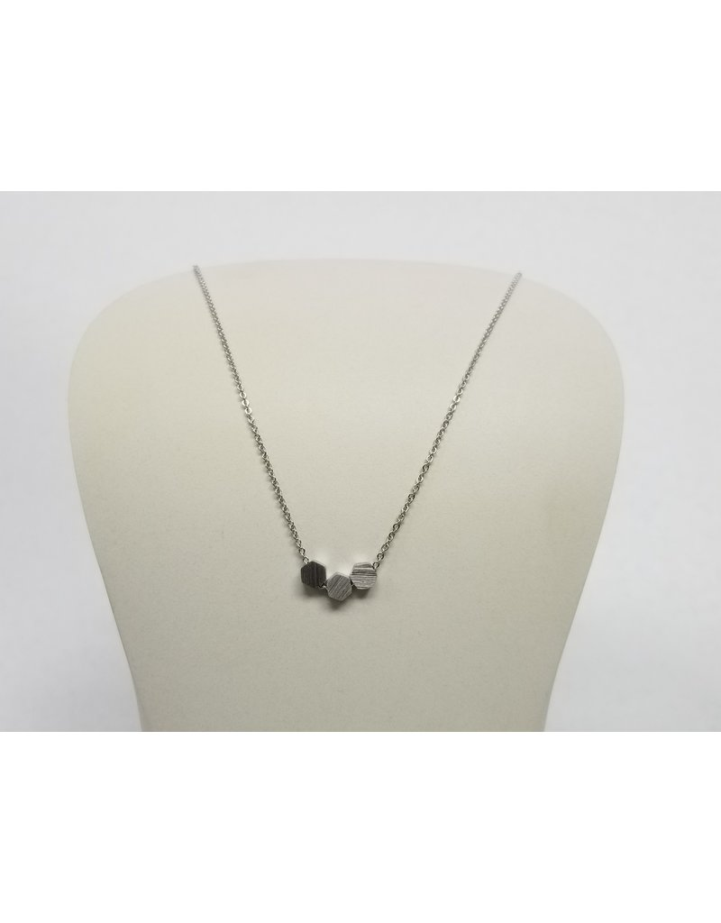 Rebecca 3 Hexagon Necklace Silver