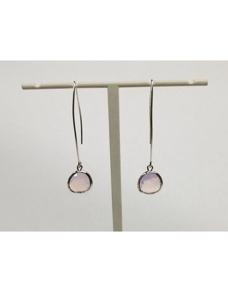 Rebecca Silver Earwire Violet Opal
