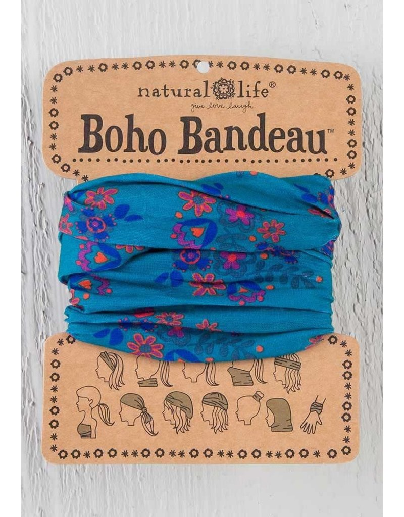 Boho Bandeau Turq Red Floral