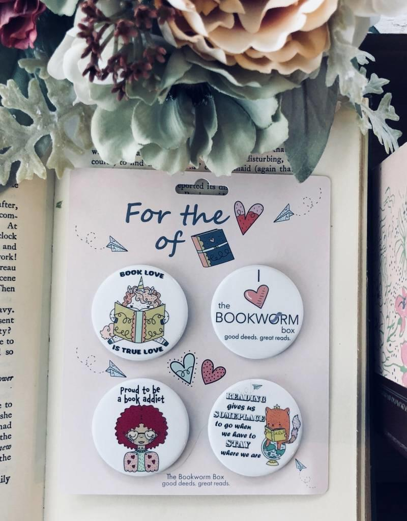 Book Lovers Pin Buttons 4 Pack