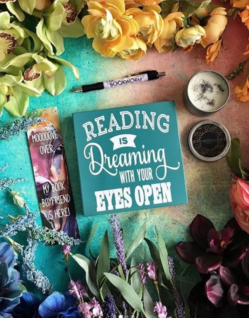 Reading is Dreaming Teal Wood Sign