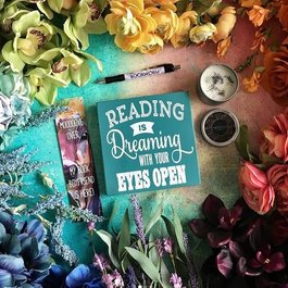 Reading is Dreaming Teal Wood Sign - Book Bonanza PICKUP ONLY