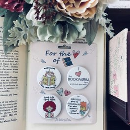 Book Lovers Pin Buttons 4 Pack - Book Bonanza PICKUP ONLY