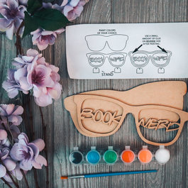 Paint Your Own Wooden Glasses - Book Nerd