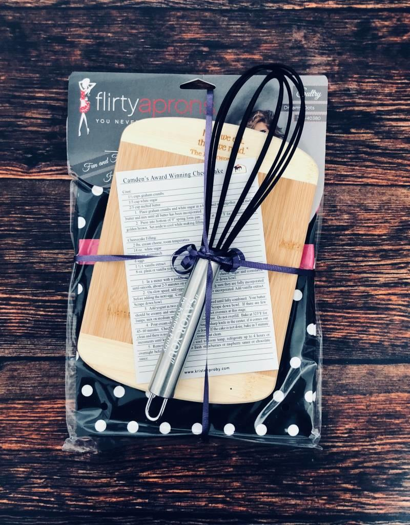 Whisk, Apron, Cutting Board Set