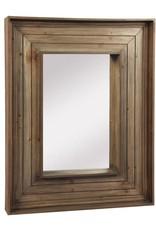 Miroir rectangle avec bordure vieux bois