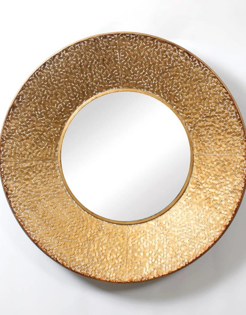 """Miroir rond métal or 33"""""""