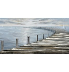 "Toile quai arrondi gris bleu et sable AROUND THE DOCK 30"" X 59"""