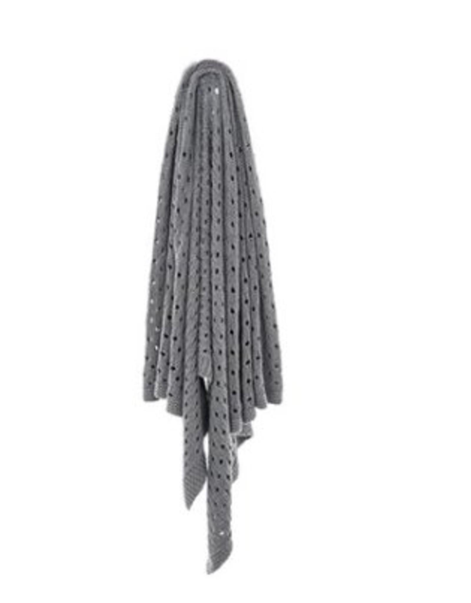 """Jeté tricot coton gris 50"""" X 60"""""""