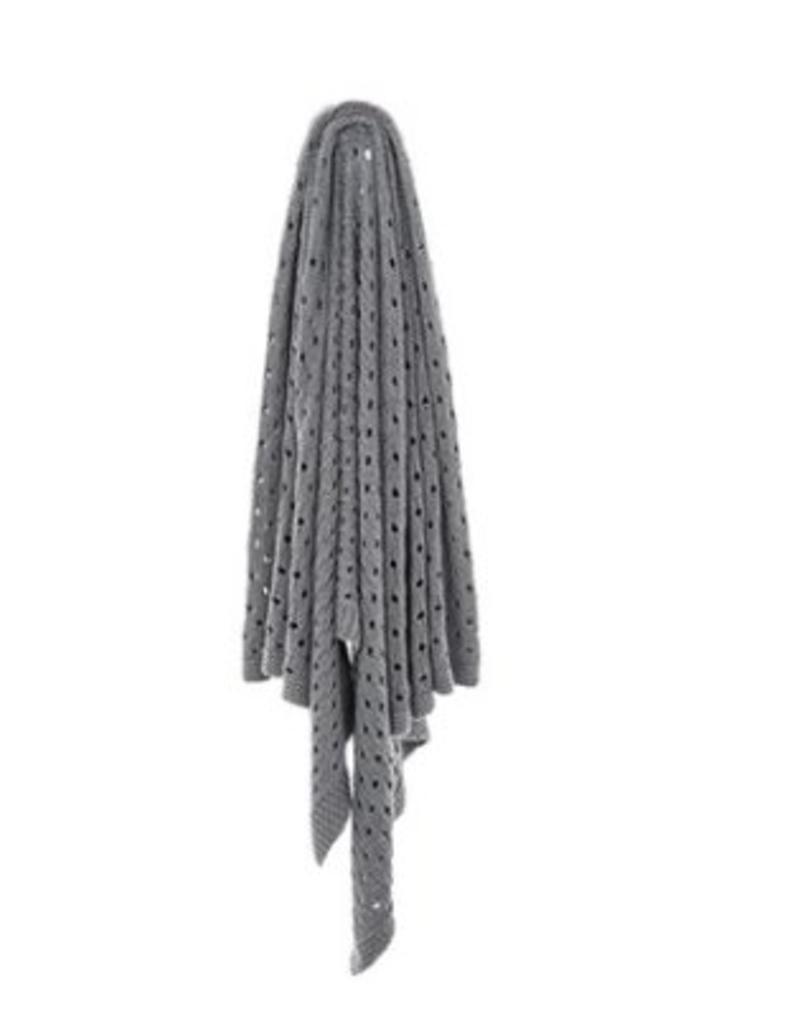 Jeté tricot coton gris