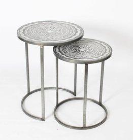 Table ronde métal gris grande