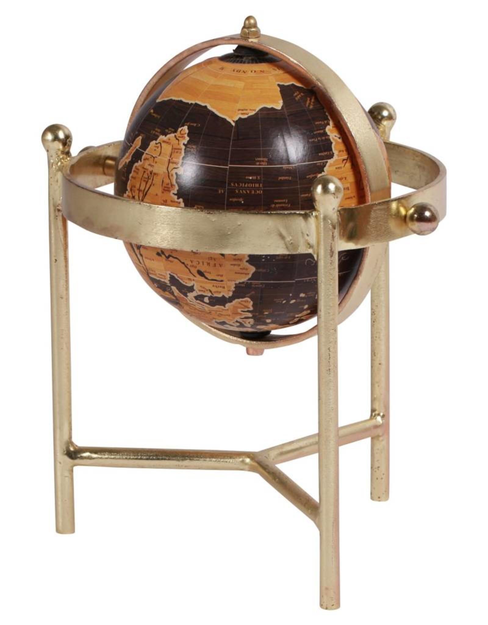 Petit globe sur pied brun et or