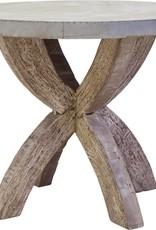 """Table ronde métal gris base bois 35"""""""