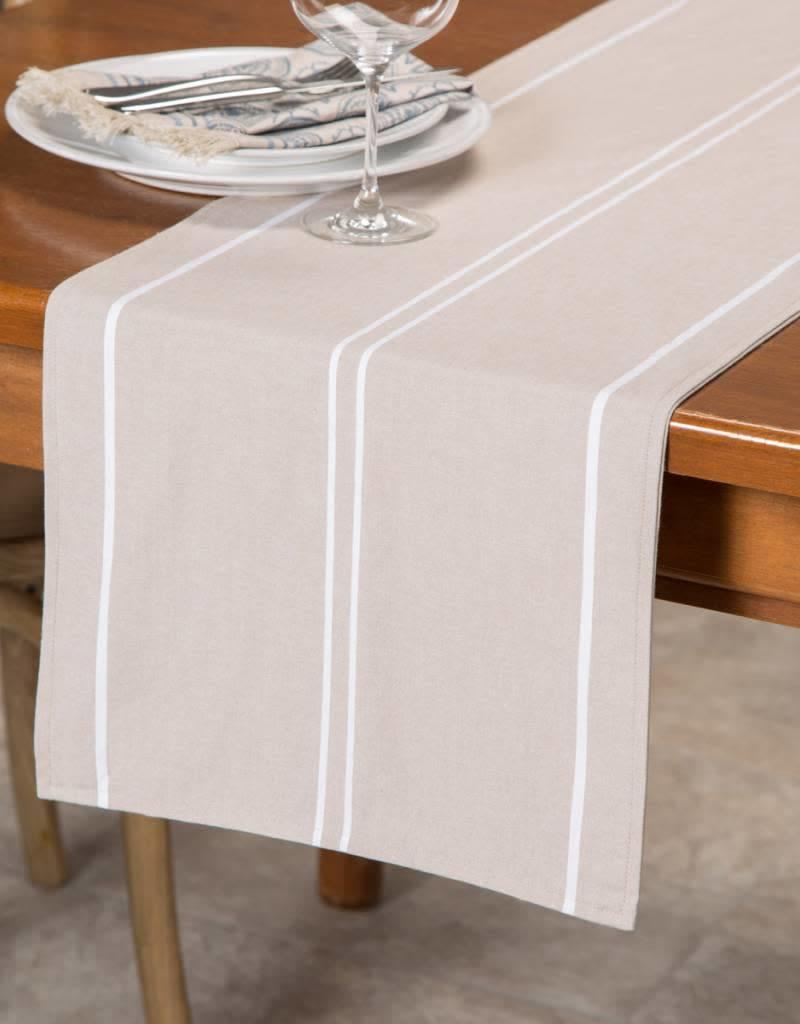 Ricardo Chemin de table à rayures blanches