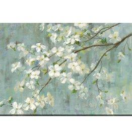 """Toile fleurs blanches sur fond bleu 30"""" x 45"""""""