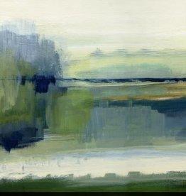 "Toile abstraite verte et bleue Glistening meadow A 24"" x 24"""