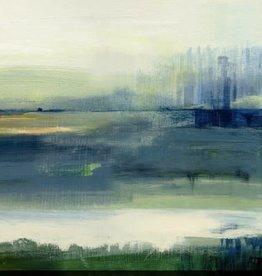 "Toile abstraite verte et bleue Glistening meadow B 24"" x 24"""