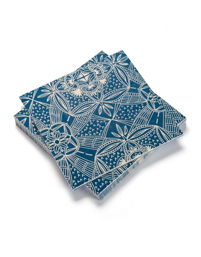 Ricardo Serviette de table en papier à rayures bleues