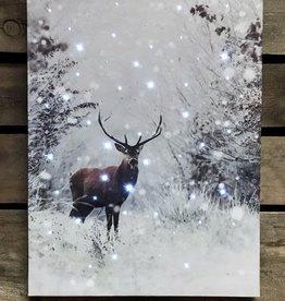 "Toile lumineux chevreuil neige 12"" x 16"""