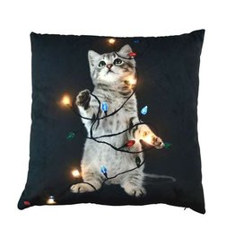 "Coussin chat lumineux 18"" x 18"""