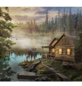 "Toile DEL cabane au bord du lac 16"" x 24"""