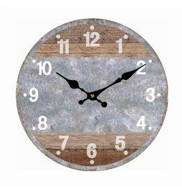 """Horloge bois et béton 16"""""""