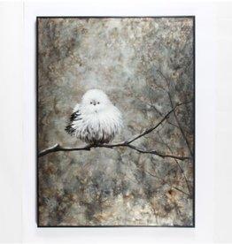 """Toile oiseau blanc sur branche           36"""" x 48"""""""