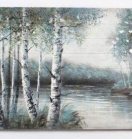 """Toile forest paisible et lac                30"""" x 60"""""""
