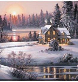 """Toile coucher de soleil d'hiver 30"""" x 45"""""""