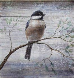 """Cadre oiseau sur bois bleu B 18"""" x 18"""""""