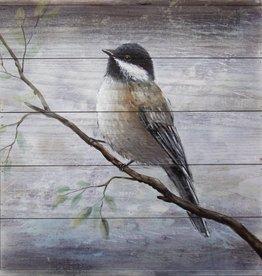 """Toile oiseau sur bois bleu A 18"""" x 18"""""""