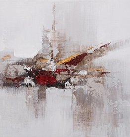 "Toile abstraite grise rouge et or 12"" x 12"""