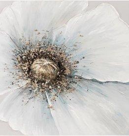 """Toile fleur bleue grise et bronze 24"""" x 24"""""""