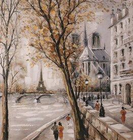 """Toile Paris en automne 40"""" x 40"""""""