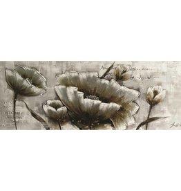 """Toile fleurs métal argent 20"""" x 55"""""""