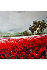"""Toile champs de fleur rouge 40"""" x 28"""""""