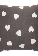 """Coussin charcoal coeur 18"""" x 18"""""""