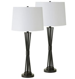 """Lampe Noir 5 branches 33""""h"""