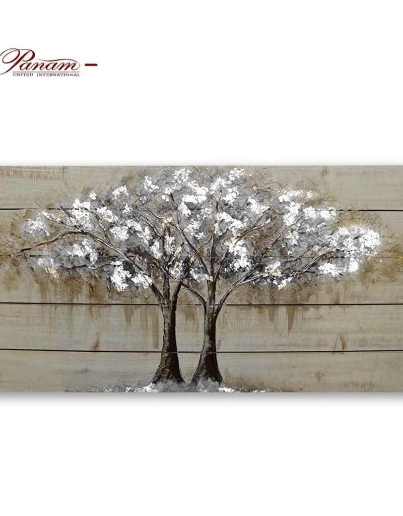 """Toile arbre brun et argent 39"""" x 20"""" x 2"""""""