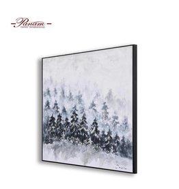 """Toile arbres bleu bleuet et argent 40"""" x 40"""""""