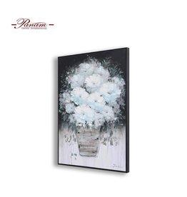 """Toile Pot de fleur bleu poudre et blanc 32"""" x 48"""""""