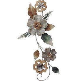 """Fleurs murales métal et bois 13"""" x 33"""""""