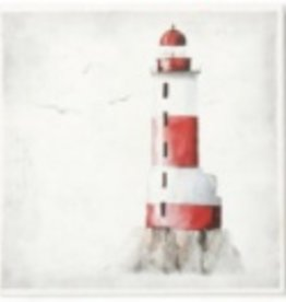 "Toile phare B gris/rouge 11"" x 11"""