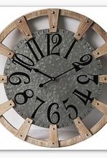 """Horloge metal et roue de bois     24"""""""