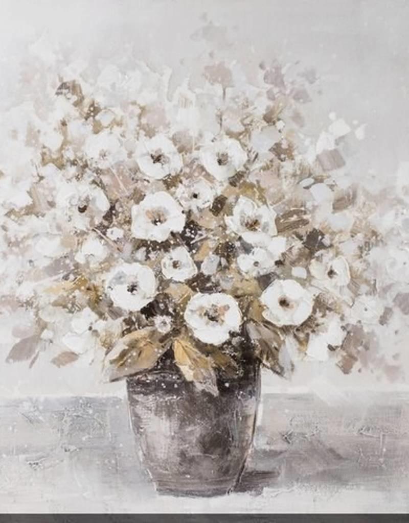 """Toile fleurs magie blanche 40"""" x 40"""""""
