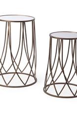 """Table d'appoint ronde miroir bronze 13"""" x 23"""""""