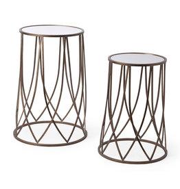 """Table d'appoint ronde miroir bronze 16"""" x 27"""""""