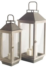"""Lanterne bois et métal gris petite 8"""" x 22"""""""